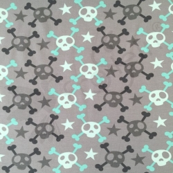 Cotton Jersey - Skulls and Crossbones - Mint
