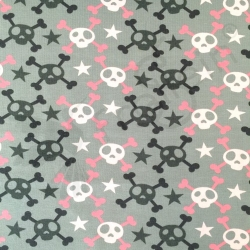 Cotton Jersey - Skulls and Crossbones - Pink