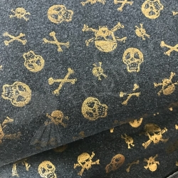 French Terry - Gold Foil Skulls