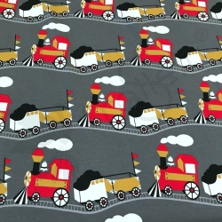 Cotton Jersey - Vintage Trains - Gray