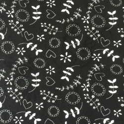 Cotton Jersey - Flowers black-white