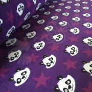 Organic Sweat Fleece - Panda - Purple