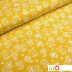 Fat Half - Organic Cotton Jersey - Blomaengen - Mustard Yellow