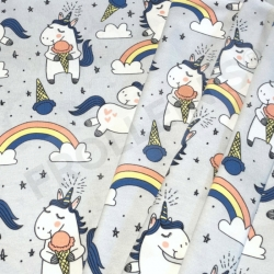 Organic Cotton Jersey - Ice Cream Unicorns-Gray