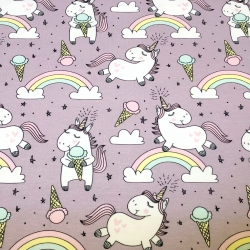 Organic Cotton Jersey - Ice Cream Unicorns-Lavender