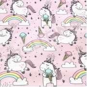 Organic Cotton Jersey - Ice Cream Unicorns-Light Pink