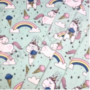 Organic Cotton Jersey - Ice Cream Unicorns-Mint