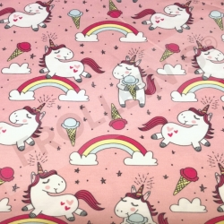 Organic Cotton Jersey - Ice Cream Unicorns-Pink