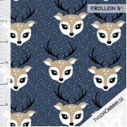 Organic Cotton Jersey - Christmas Deer-Blue