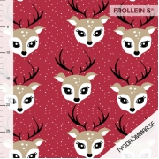 Organic Cotton Jersey - Christmas Deer-Red