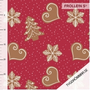 Organic Cotton Jersey - Christmas Cookies-Red