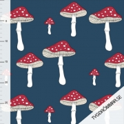 Organic French Terry - Amanita-Toadstools-blue