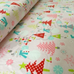 Cotton Jersey- Christmas Fun - Pink