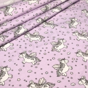 Cotton Jersey - Color Changing - Flying Unicorns - Lilac