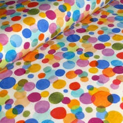 Remnant 5/8 yard - Cotton Jersey - Colorful Dotties