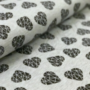 Cotton Jersey - Geometric Hearts - Black