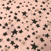 Sweatshirt Knit - Stars Gold Sparkle- Rose