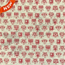 Cotton Jersey - Groovy Robots-Red
