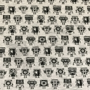 Cotton Jersey - Groovy Robots-Black