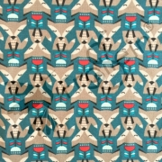 Cotton Jersey - Tulip Foxes - Teal