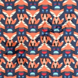 Cotton Jersey - Tulip Foxes - Navy