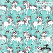 Organic Cotton Jersey - Flower Unicorns-Aqua