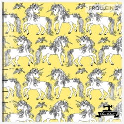Organic Cotton Jersey - Flower Unicorns-Yellow
