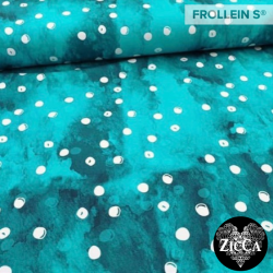 Organic Cotton Jersey - Watercolor Dots-Turquoise