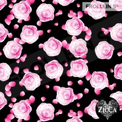 Organic Cotton Jersey - Roses-Black/Pink