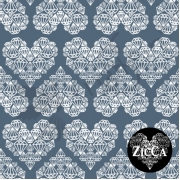 Organic Cotton Jersey - Diamond Hearts - China Blue