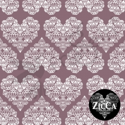 Organic Cotton Jersey - Diamond Hearts - Grape Wine