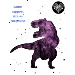 Organic Cotton Jersey - Watercolor T-Rex Purple Panel Set