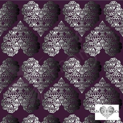 Organic Cotton Jersey - Diamond Hearts - Purple