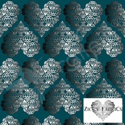 "Remnant 15""-Organic Cotton Jersey-Diamond Hearts-Teal"