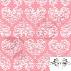 Organic Cotton Jersey - Diamond Hearts - Pink