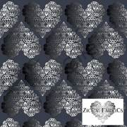 Organic Cotton Jersey - Diamond Hearts - Steel Gray