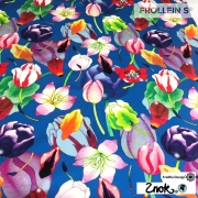 Organic Cotton Jersey - Tulips-Blue