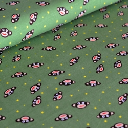 Cotton Jersey - Monkey-Stars - Green