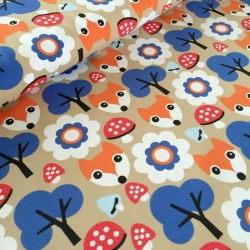Cotton Jersey - Foxes & Toadstool-Beige