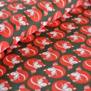 Cotton Jersey - Sleeping Foxes - Red/Olive