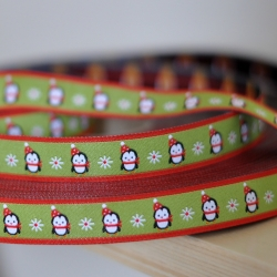 Woven Ribbon - Penguins - Green
