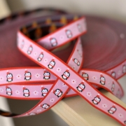 Woven Ribbon - Penguins - Pink